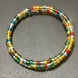 Multicolor Seed Bead Wire Wrap Bracelet